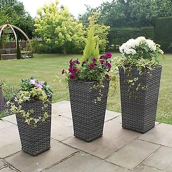 Maze Rattan Victoria Tall Grey Rattan Planter Set