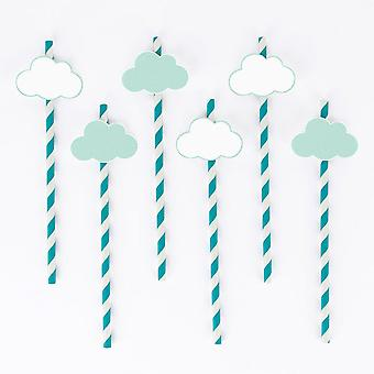 CLOUDS Paper Straws Pack of 12 - Party Baby Shower Up in the Clouds