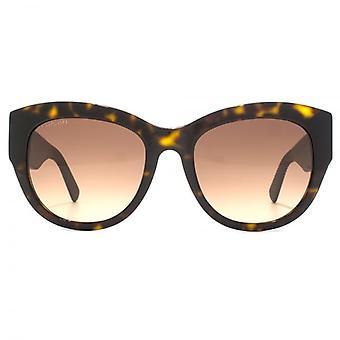 Swarovski Geometric Diamante Temple Cateye Sunglasses In Dark Havana