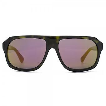 French Connection Premium Boxy Plastic Pilot Sunglasses In Khaki Tortoiseshell