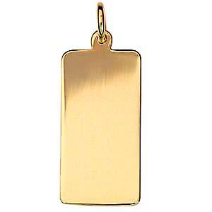 18ct Gold 26x13mm plain rectangular Disc