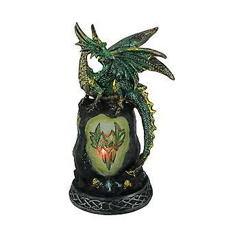 Glitrende grønn Guardian Dragon farge endre LED Geode statuen