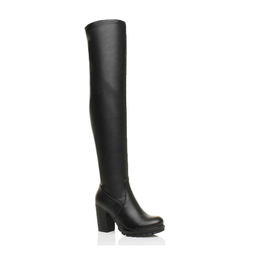 Ajvani womens high block heel chunky over the knee stretch thigh zip boots