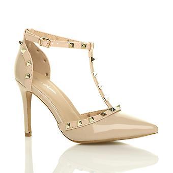 Contrasto di tacco alto womens Ajvani infradito con borchie punte corte scarpe sandali