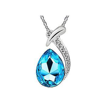 Womens Blue Crystal Diamante hanger ketting Teardrop Stone