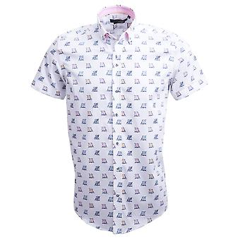 Guide London White Cotton Sateen Deckchair Print Short Sleeve Mens Shirt