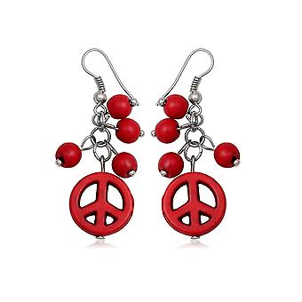 Pendantes Peace in coral red earrings