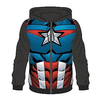 Bioworld Mens Marvel Comics Captain America in voller Länge Reißverschluss Kapuzenpullover groß