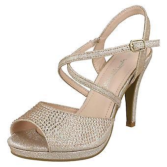 Las señoras Anne Michelle Diamante hebilla correa sandalias F10835 - oro rosa brillo - Reino Unido tamaño 8 - UE tamaño 41 - talla US 10