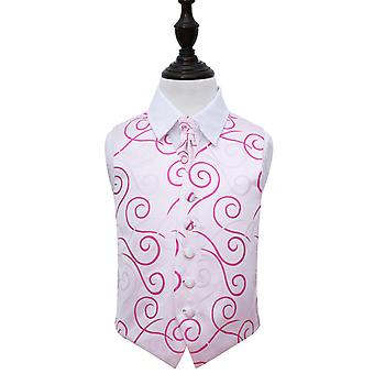 Ivory & Hot Pink Scroll Wedding Waistcoat & Cravat Set for Boys