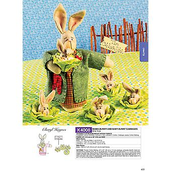 Mama Bunny and Baby Bunny Cabbages- -*SEWING PATTERN*