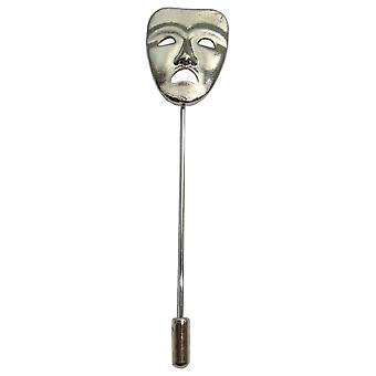 Bassin and Brown Sad Mask Lapel Pin - Silver