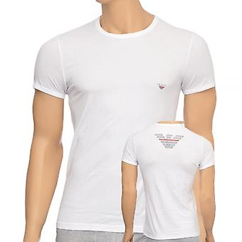 Emporio Armani Eagle Stretch Cotton Crew Neck T-Shirt, White, X Large