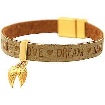 Gemshine - Damen - Armband - Schutz Engel - Doppelflügel - 925 Silber Vergoldet - Vergoldet - WISHES - Braun Sand - Magnetverschluss