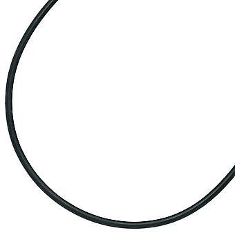 Gummi kjeden svart ANTOINETTE for båndet sølv anheng