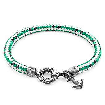 Anchor & Crew Green Dash Salcombe Silver and Rope Bracelet