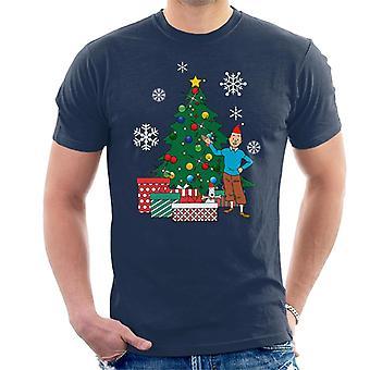 Tintin And Snowy Around The Christmas Tree Men's T-Shirt