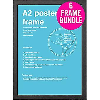 GB Posters 6 Black A2 MDF Poster Frames 42 x 59.4cm Bundle