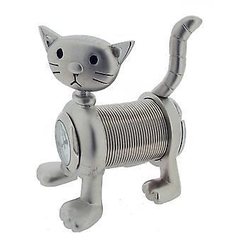 Gift Time Products Springy Cat Mini Clock - Silver
