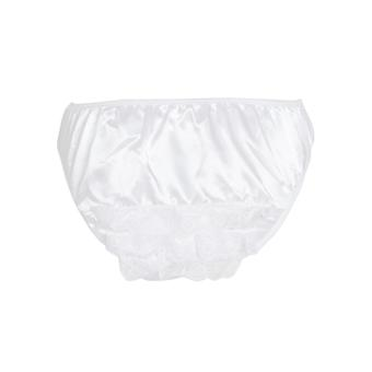 Honour Women's French Maid Frilly Knickers in Sheer White Lace Trim