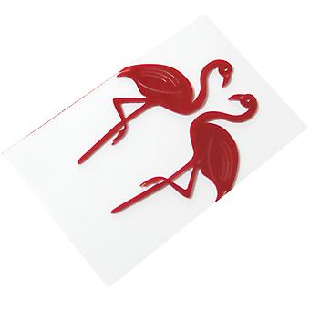 SOLID FLAMINGO CAKE FLAGS 2 SET RED