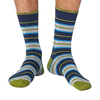 School Stripe men's super-soft bamboo crew socks in navy | Thought