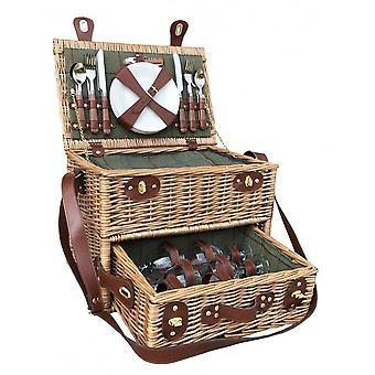 4 Person Green Tweed Wicker Picnic Basket with Drawer