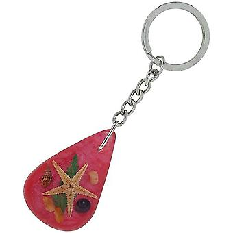 The Olivia Collection Sea Life Key Ring with REAL Starfish on Pink Background