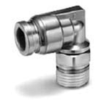SMC Pneumatic Elbow Threaded-To-Tube Adapter, R 1/8 Male, Push In 6 Mm