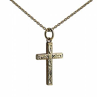 9ct Gold 20x13mm hand engraved solid block Cross with belcher Chain 24 inches