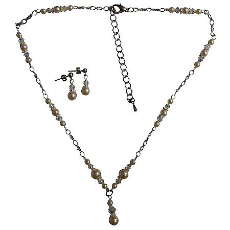 Trendy Swarovski Ivory Pearls AB Crystals with Drop Down Necklace Set