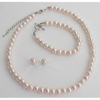 Blush Pink Pearl Necklace Earrings Braceket Wedding Bridesmaid Jewelry