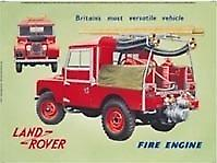 Land Rover Fire Engine Steel Sign  (fd ls)