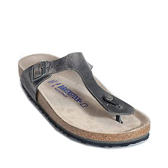 Mens Birkenstock Gizeh Soft Footbed Sandals Narrow Width In Grey- Oiled Leather