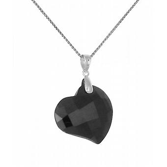 "Cavendish French Black CZ Heart Pendant with 16 - 18"" Silver Chain"