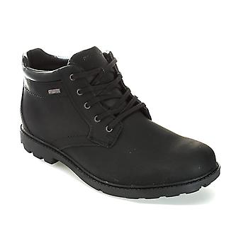 Mens Rockport Storm Surge Plain Toe Boots In Black- Lace Fastening- Eva Footbed-