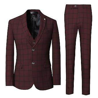 Allthemen Mens 3 Pieces Slim Fit Plaid Wedding Suit Blazer&Vest&Pants