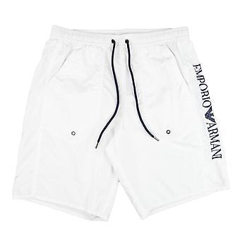 Emporio Armani Seite Logo Badeshorts Weiß