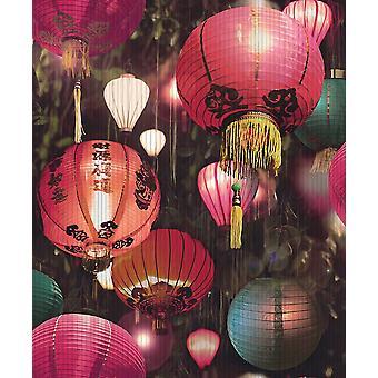 Japanese Lantern Wallpaper Oriental Textured Vinyl Paste Wall Arthouse Tian