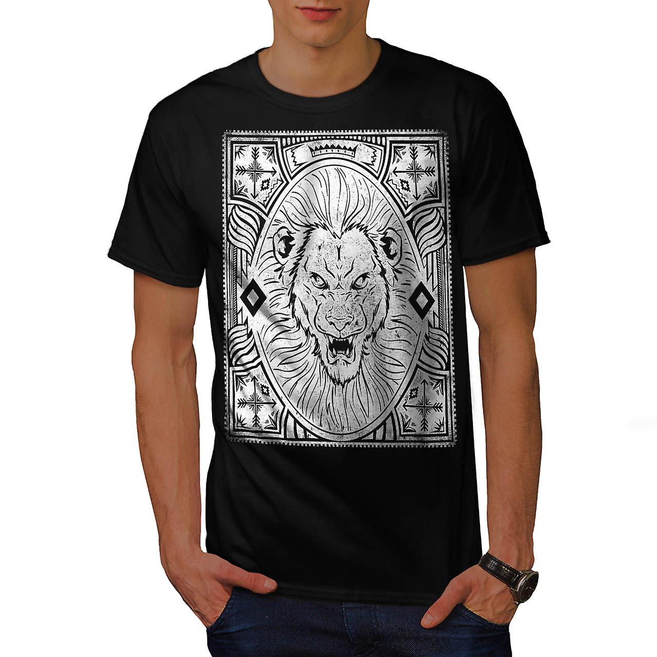 King Jungle Lion  Wildlife Men Black T-shirt | Wellcoda