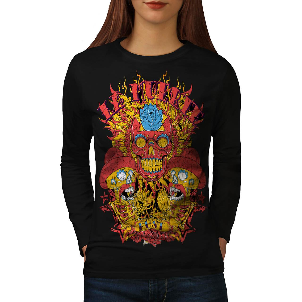 Muerte Lust Skull Hat Mexican Women Black Long Sleeve T-shirt | Wellcoda
