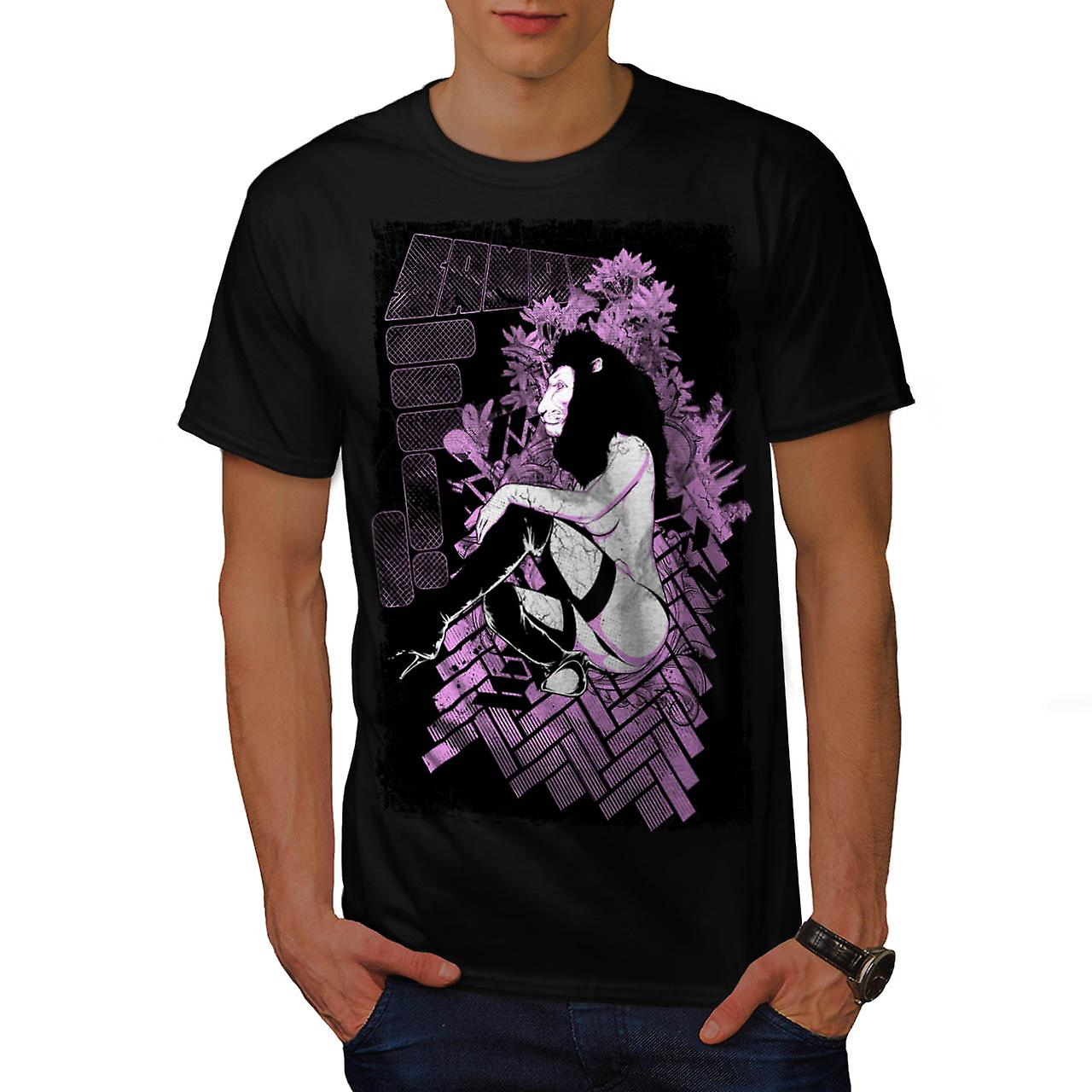 Tease Queen Lion Mask Wild Girl Men Black T-shirt | Wellcoda