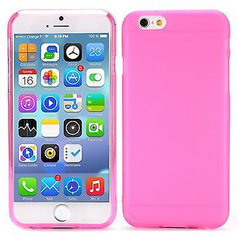 Hög kvalitet gummi täcka TPU case för iPhone 6 4.7 (rosa)