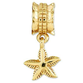 Sterling Silver Gold-plated Reflections StarFish Dangle Bead Charm