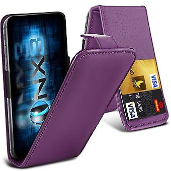 ONX3 ( Purple) LG K8 (2017) Universal Luxury Style Folding PU Leather Spring Clamp Holder Top Flip Case with 2 Cards Slot, Slide Up and Down Camera