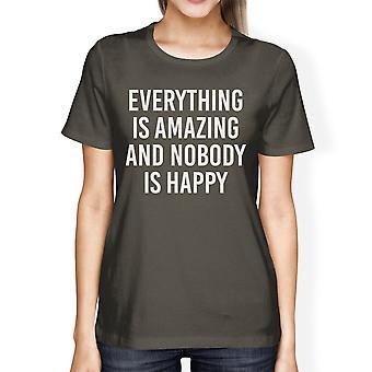 誰もハッピー レディース ブラック t シャツ面白い t シャツを驚くべきすべて