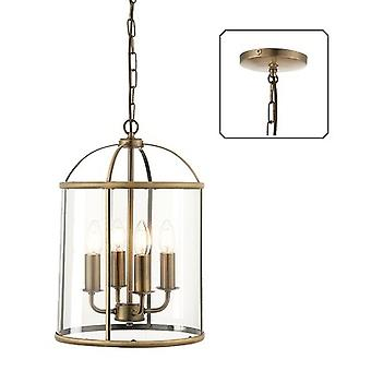 ENDON 69455 Lambeth 4 Light Ceiling Pendant-Antique Brass-Clear Glass