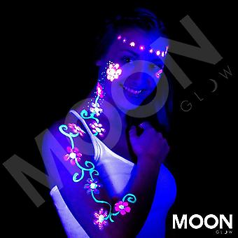 Moon Glow - Neon UV Face & Body Paint - 12ml Full Set of 16 - includes UV Keyring