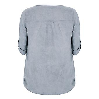PAPRIKA Grey Smock Top With Ruched Neckline