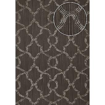 Exclusive luxury wallpaper Atlas PRI-557-3 non-woven wallpaper structured with ornaments shimmering silver grey umbra grey 5.33 m2